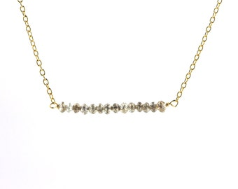Champagne Rustic Diamond Bead Bar Necklace in Gold Fill 2 cm Length
