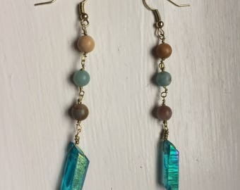 Amazonite and blue iridescent quartz crystal hand chained earrings