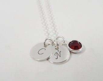 """Sterling Silver Initial Necklace - Tiny 3/8"""" Initial Discs with Swarovski Pearl - 2 Initials - Hand Stamped Mommy Jewelry"""