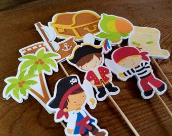 Pirate Boy Party - Set of 12 Assorted Pirate Boy Cupcake Toppers by The Birthday House