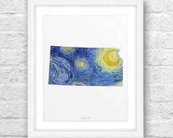 Kansas Map, Kansas Print, Kansas Art,Kansas State, Van Gogh Starry Night,Kansas Printable,Instant Download,Kansas 8x10, Kansas VanGoghStyle