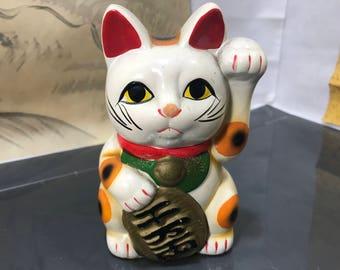 rare Japanese saving box lucky cat Maneki Neko 1958 Okimono Yakimono handmade ceramic maneki cat  vintage maneki Neko made in Japan (#64)