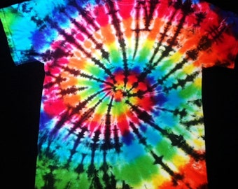 Tie Dye Rainbow Shirt Black Stripes / Stained Glass