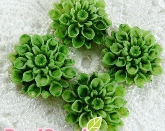 CA-CA-01531 - Tie-Dyed Green chrysanthemum Cabochon,  6 pcs