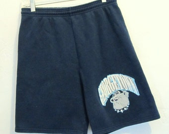 Marked Down 50%@@Vintage 80's,Faded Navy Blue GEORGETOWN SWEAT SHORTS.M(30-32)