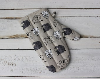 Kitchen Glove With Sheep, Linen Oven Glove for cooking, Kitchen Oven Mitt for baker, Easter gift, Linen Kitchen Glove for Mother