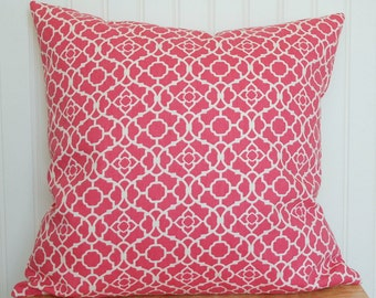 Pink Pillow Cover, Pink Geometric Pillow Cover, Raspberry Geometric Throw Pillow Cover, Pink and White Pillow, Pink Cushion Cover