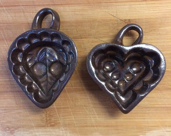 Vintage Baking Mould Pair Brown Ceramic Heart & Cherry Wall Decor