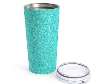 Teal Printed Glitter Tumbler 20Oz