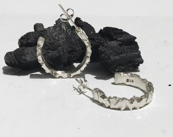 GLACIER 1.0 - Solid Sterling Silver Hoops -  925 - Raw Angled Textured - Hoop Earrings - Silver Hoop Earrings - Statement Earrings