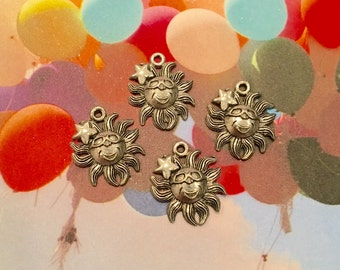 Happy Sun Charms -4 pieces-(Antique Pewter Silver Finish)