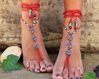 Red Hot Bohemian Barefoot Sandals Hippie Sandals Hand Made Sandals for Women Festival Clothing Pixy Shoes African Clothing Crochet Anklet