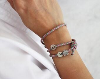 Cord bracelet charm - pacman ghost skull