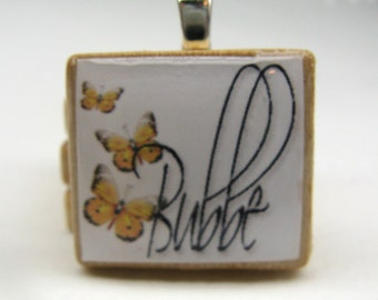 Hebrew Scrabble tile - Bubbe - Grandma or Grandmother - with yellow butterflies