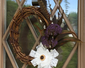 Wreath with Lace Bow and Feathers