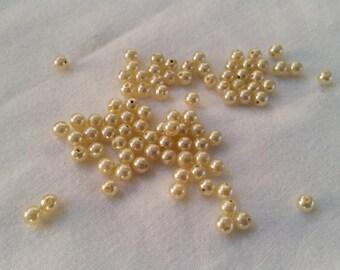 set of 87 Ecru 4mm Plastic beads