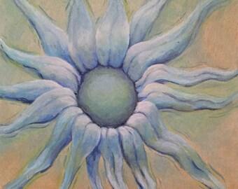 """6 x 6"""" Original peinture doux éthérée fantaisie surréaliste tournesol RSalcedo FFAW bleu tournesol"""
