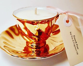 Teacup candle - Vintage demitasse cup (coffee size) - Avondale of Australia 22ct lined china - French Pear fragrance oil - soy wax candle