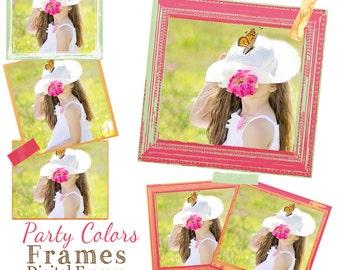 Pink frames, Orange Frames, Green Frames, Digital Frames, PSD Template, Scrapbook Frames,  textured Frames,Tape,  Instant Download
