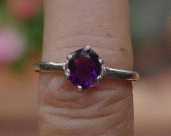 Pretty Amethyst Sterling Silver Ring