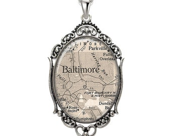Map Pendant Baltimore MD Oval Filigree Pendant Maryland City Necklace Art Pendant Photo Pendant Graphic Pendant