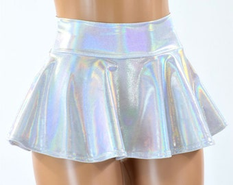 Flashbulb Holographic Metallic Circle Cut Mini Skirt Rave Clubwear EDM 151283