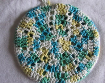 Round Potholder - Double Thick Hotpad - Cotton Trivet  - Crocheted Potholder - 100% Cotton - Blue, Green, Yellow and White