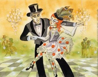 Mascarade giclée Print Art Illustration aquarelle