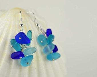 Sterling silver Blue sea glass earrings sea glass jewelry cobalt blue aqua blue beach glass jewelry beach wedding bridesmaids jewelry gifts