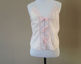 M / Cotton Cami Camisole Top Lingerie / Pink by Blush / Medium / FREE USA Shipping