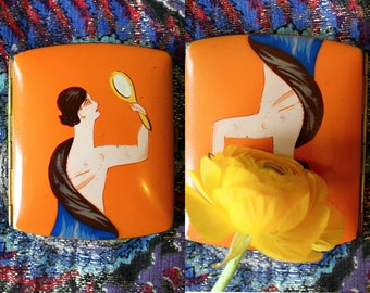 """1920s naughty cigarette case    20s flapper celluloid dirty picture smoke compact    """"Thumb Girl"""" parlour trick"""