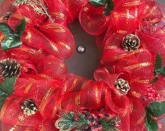Christmas Home Decor- Red Christmas Wreath