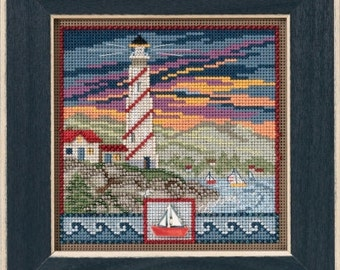 Mill Hill Kit - LIGHTHOUSE - Button & Bead Counted Cross Stitch Kit - ocean cross stitch boats, beaded cross stitch kit, spring cross stitch