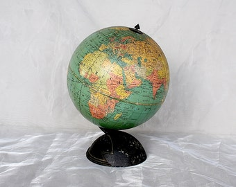 Vintage Globe - Small World Globe - Vintage Replogle Globe - Vintage World Globe - Art Deco Table Globe -1930s Globe -Vintage Earth Globe -