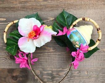 Polynesian Minnie Ears/ Dole Whip Ears/ Tropical Headband