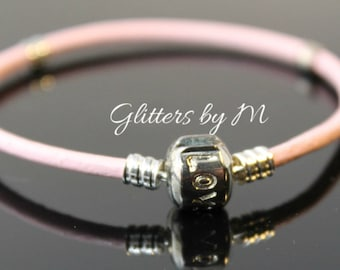 7 Inch Pink Leather European Charm Bracelet With Love Clasp