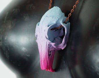 REAL Animal skull necklace - summit blue, lilac and fuschia hand painted taxidermy real rabbit skull with black and gold chain