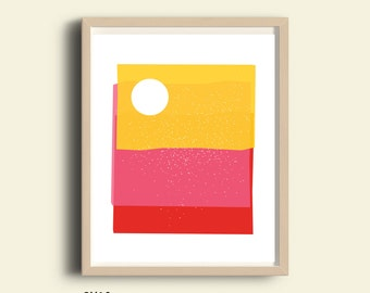 Abstract art print, bright colors, PRINTABLE art, contemporary art,  red pink yellow, home wall decor, apartment wall art, poster, art gift
