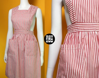 Adorable Vintage Red & White Stripe Candy Striper Style Jumper Dress with Pockets
