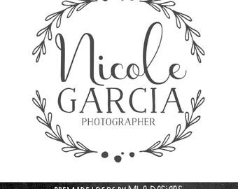 Wreath Logo Design -  Typography Logo,Simple Wreath Logo, Wedding Logo, Jewelry Logo, Custom Logo Design, Photographer Logo