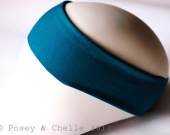 Yoga Headband, Bamboo & Organic Cotton Stretchy Headband, Teal Stretch Headband
