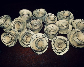 60 x Tiny Music Paper Roses - Vintage Inspired