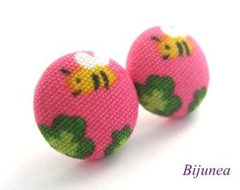 Bee earrings - Pink bee stud earrings - Bee posts - Bee studs - Bee post earrings sf772