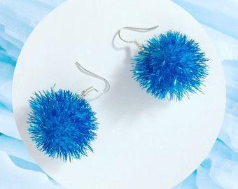 Sparkly Blue Pom Pom Earrings!