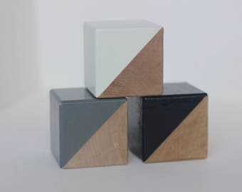 3 Hand Painted Wooden Blocks in Cloudy