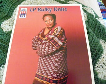 Knitting Pattern Book - LP Bulky Knits By Knit Across America - 7 Designs - Sweaters, Pullovers, Hats, Coat