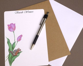 Stationary, Personalized Stationery Set, Custom Flat Note Cards, Stationery, Letter, Paper, Tulip & Chipmunk, garden, nature, flower