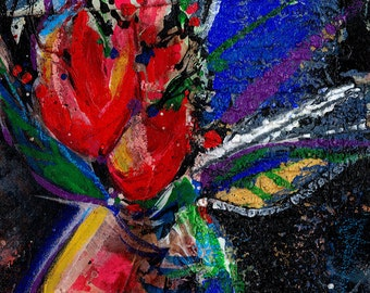 Floral Fantasy .. 2 ... Original Contemporary Modern mixed media flower art painting by Kathy Morton Stanion EBSQ