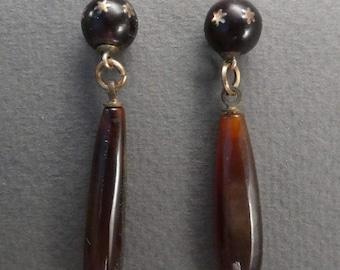 14K glass drop earrings with stars