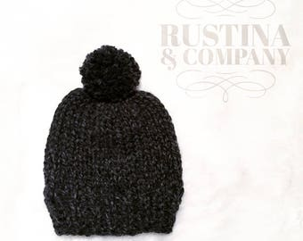 Basic Knit Baby Beanie in Charcoal